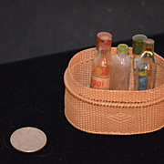Antique Doll Miniature Basket & Old Glass Bottles