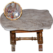 Antique Doll Marble Top Table Schneegas & Limoges Porcelain Plate Miniature Dollhouse