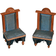 Antique Doll Miniature Chairs Wood Fringe Dollhouse