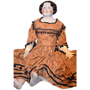 """Antique GIGANTIC Doll China Head 36"""" Beauty Dressed"""