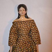 Antique Doll Milliner's Model Unusual Hair Style Papier Mache