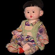 Antique Doll Oriental Character Papier Mache Original Clothes