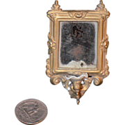 Antique Doll Miniature Mirror W/ Glass Globe Dollhouse Ornate