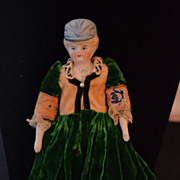 Antique Doll China Head Molded Hat Fancy