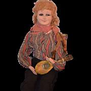 Antique Doll Boudoir Apache Dancer Papier Mache Musical Cloth Wonderful