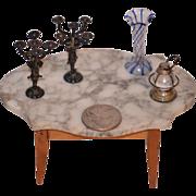 Old Doll Miniature Lot German Glass Vase Candelabra Sterling Lantern Dollhouse