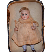 Antique Doll Miniature Bisque Jointed Dollhouse W/ Trunk