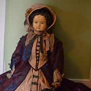 Antique Doll HUGE Papier Mache Fab Clothes Paper Mache Unusual