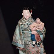 Antique Doll Oriental Dolls Set Miniature Unusual Osaka