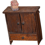 Old Doll Miniature Chest W/ Towels Wood Dollhouse