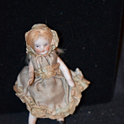 Antique Doll Miniature Bisque Dollhouse Original Clothes
