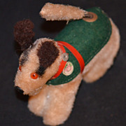 Vintage Miniature Dog For Doll Mechanical Chasing Tail Original Monkey Tag Wind up