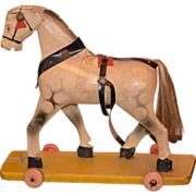 Antique Doll Pull Toy Horse Wood Carved on Wheels