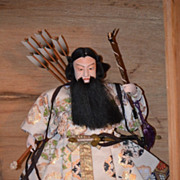 Old Doll Oriental Warrior In Old Wood Box