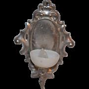Old Doll Miniature Sconce Metal & Glass Lamp Light Dollhouse German