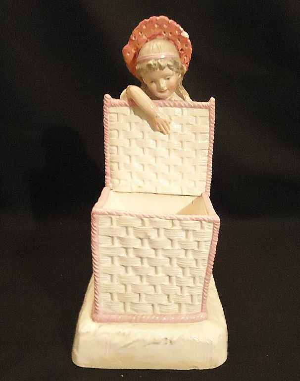 Antique Large Victorian Girl With Basket Box Staffordshire Piano Baby Figurine Doll