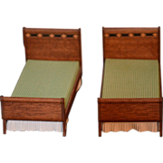 Vintage Miniature Doll Dollhouse Bed Wood TWO Beds