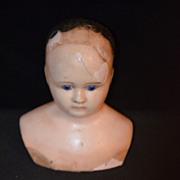 Antique Doll French Papier Mache Wax Head Doll Glass Eyes