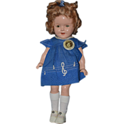Antique Shirley Temple Doll & Tagged Dress W/ Button