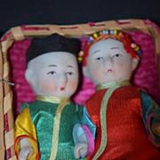Antique Doll Set Bisque Oriental In Original Basket