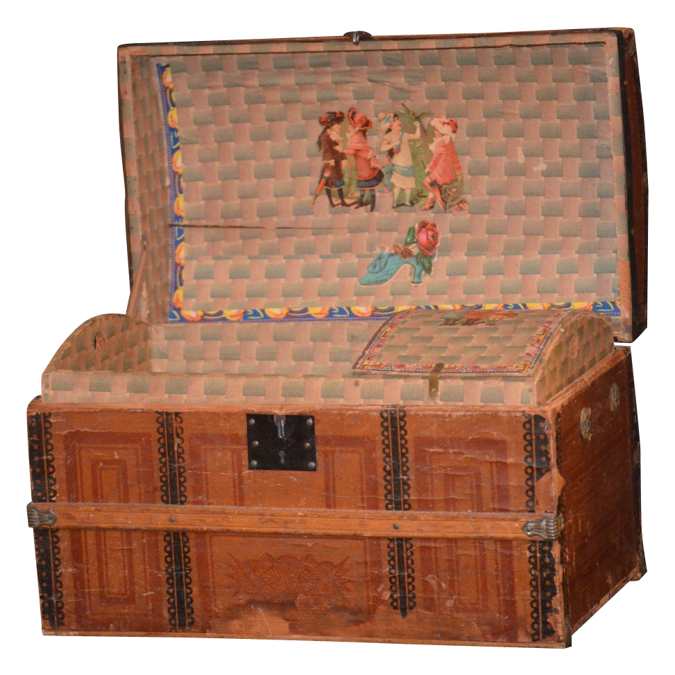 Antique Doll Trunk W Original Tray Amp Litho For Bisque Doll From Oldeclectics On Ruby Lane