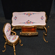 Antique Doll Miniature Porcelain Enamel French Desk and Chair Dollhouse