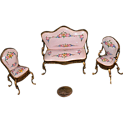 Antique Doll Miniature Dollhouse Enamel Porcelain Sofa Chairs Chair set