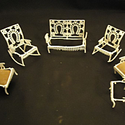 "Vintage Soft Metal Ornate Miniature ""The Fairy"" Furniture Doll House Dollhouse Furniture Adrian Cooke Metallic Works Circa 1893"