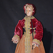 Antique Doll Poured Wax W/ Carved Articulated Body Creche Costume