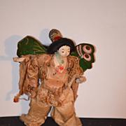 Antique Doll Oriental Original Costume W/ Butterfly Wings