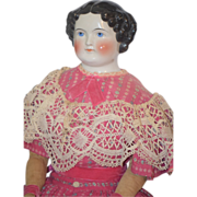 Antique Doll China Head Smiling Pretty In Pink Apple Cheeks