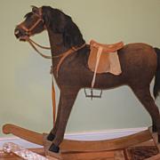 Antique Doll Child Rocking Horse Great Size W/ Saddle