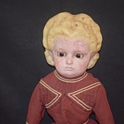 Antique Doll Wax Over Papier Mache Pumpkin Head