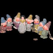 Antique Doll Set Snow White & Seven Dwarfs Papier Mache Candy Container Set