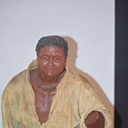 Antique Doll Wax Black Man Rare Unusual Sculpture Early Carved Historical