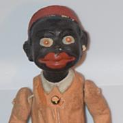 Antique Doll Black Papier Mache Paper Mache Miniature Jointed Americana