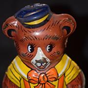 Antique Toy Bear Walking Tin Wind Up Chein