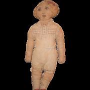 Antique Doll Cloth Lithograph Wonderful Folk Art