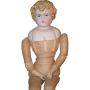 Antique Doll Parian Large Beautiful Cloth Body