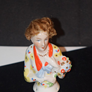 Antique Doll Half Doll China Head W/ Wig Fancy