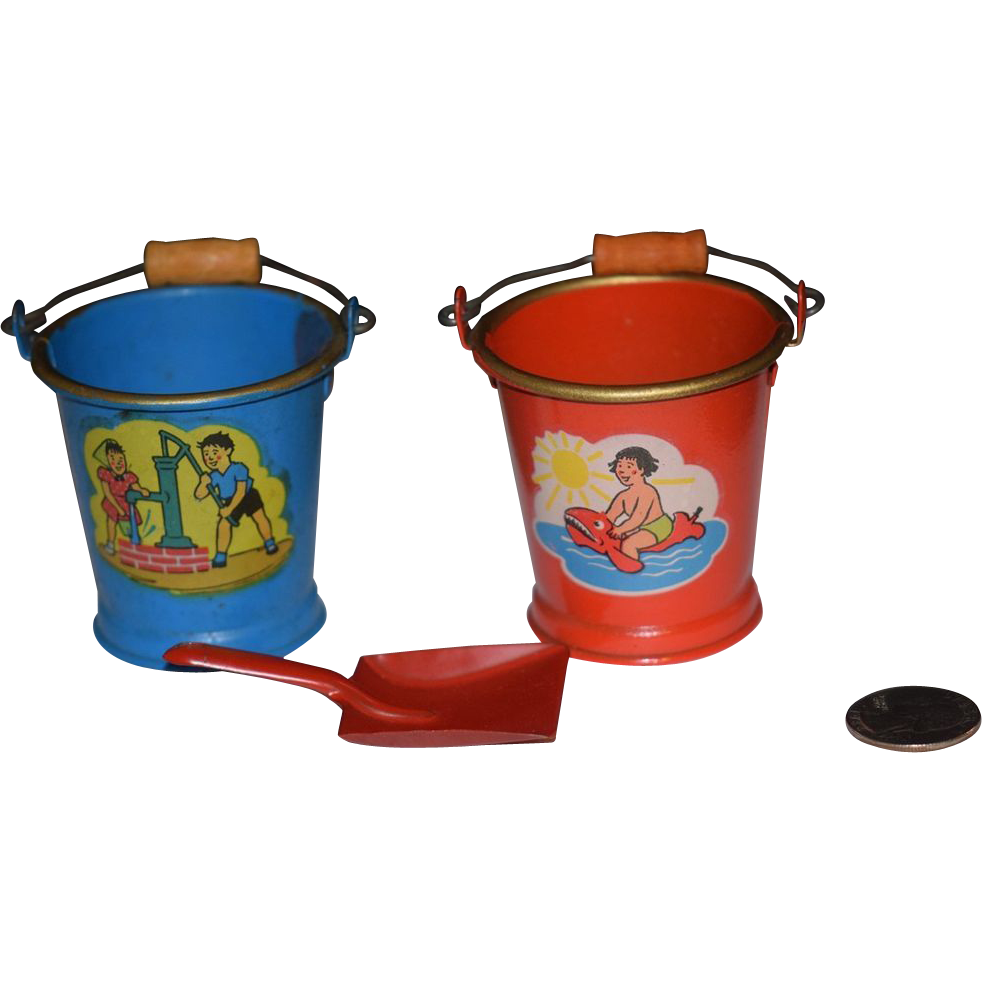 Vintage doll toys miniature tin litho buckets buckets from for Tiny metal buckets