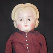 Antique Doll Wax Over Papier Mache Pumpkin Head BIG