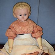 Antique Doll Wax Over Papier Mache Glass Eyes W/ Head Band