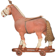 Old Doll Pull Toy Papier Mache Horse On wheels WONDERFUL
