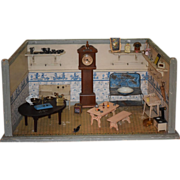 Antique Doll Dollhouse Diorama Wood Room Store W/ Miniatures