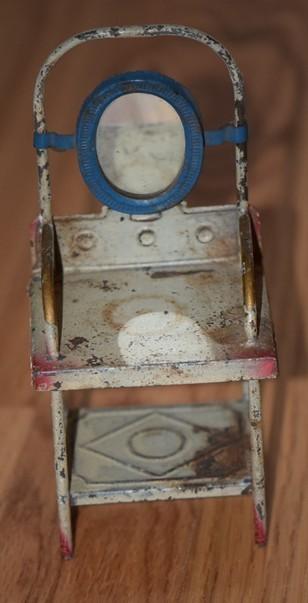Vintage Toy Potty : Antique doll miniature toilet wash stand tin dollhouse