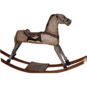 Antique Doll Toy Wood Carved Rocking Horse WONDERFUL