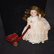 Antique Doll Miniature Wagon Pull Toy For Doll Carriage Dollhouse Metal