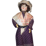 Old Doll French Papier Mache Paper Lady Doll Fancy