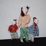 Antique Doll Set oriental Family Unusual Miniatures Dollhouse Papier Mache